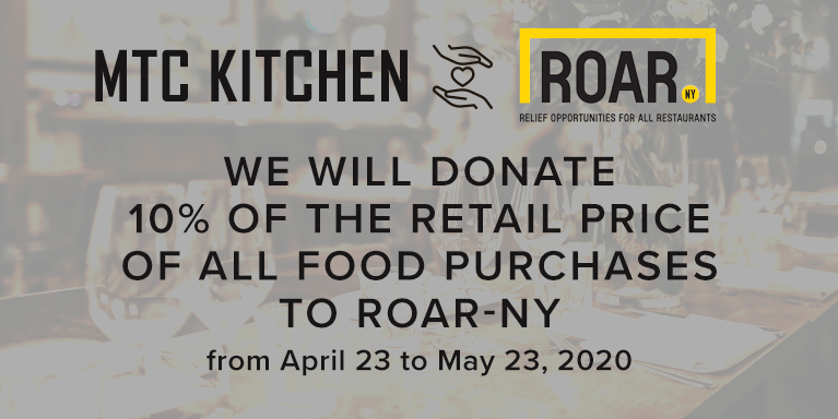 We will donate 10% of the retail price of all food purchases to ROAR-NY