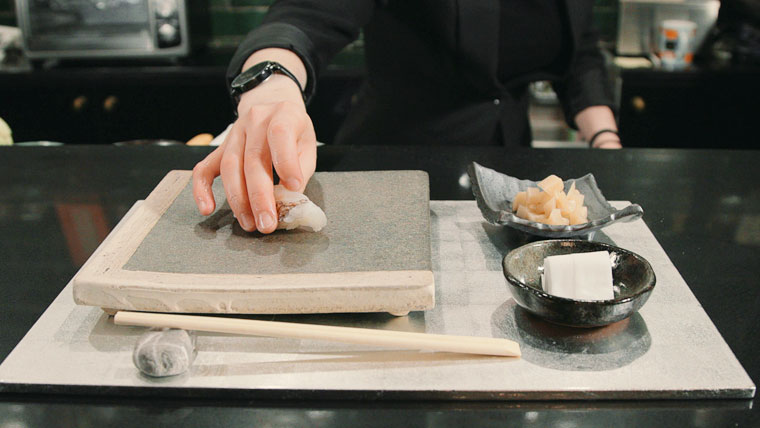 Chef, Oona Tempest of Sushi by Bae in Union Square, NYC. Her artistic approach to sushi creation