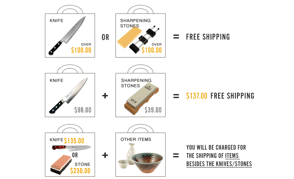 Free Shipping on Knives and Sharpening stones above $100 Purchase