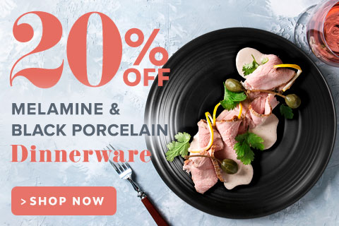 20% Off Melamine and Black Porcelain Dinnerware