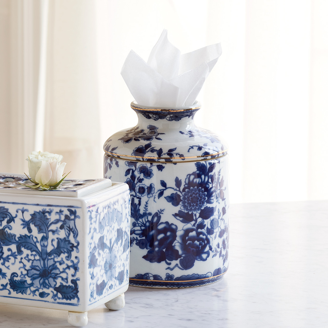 Tissue holder shell fabric cotton case blue and white cotton shell design