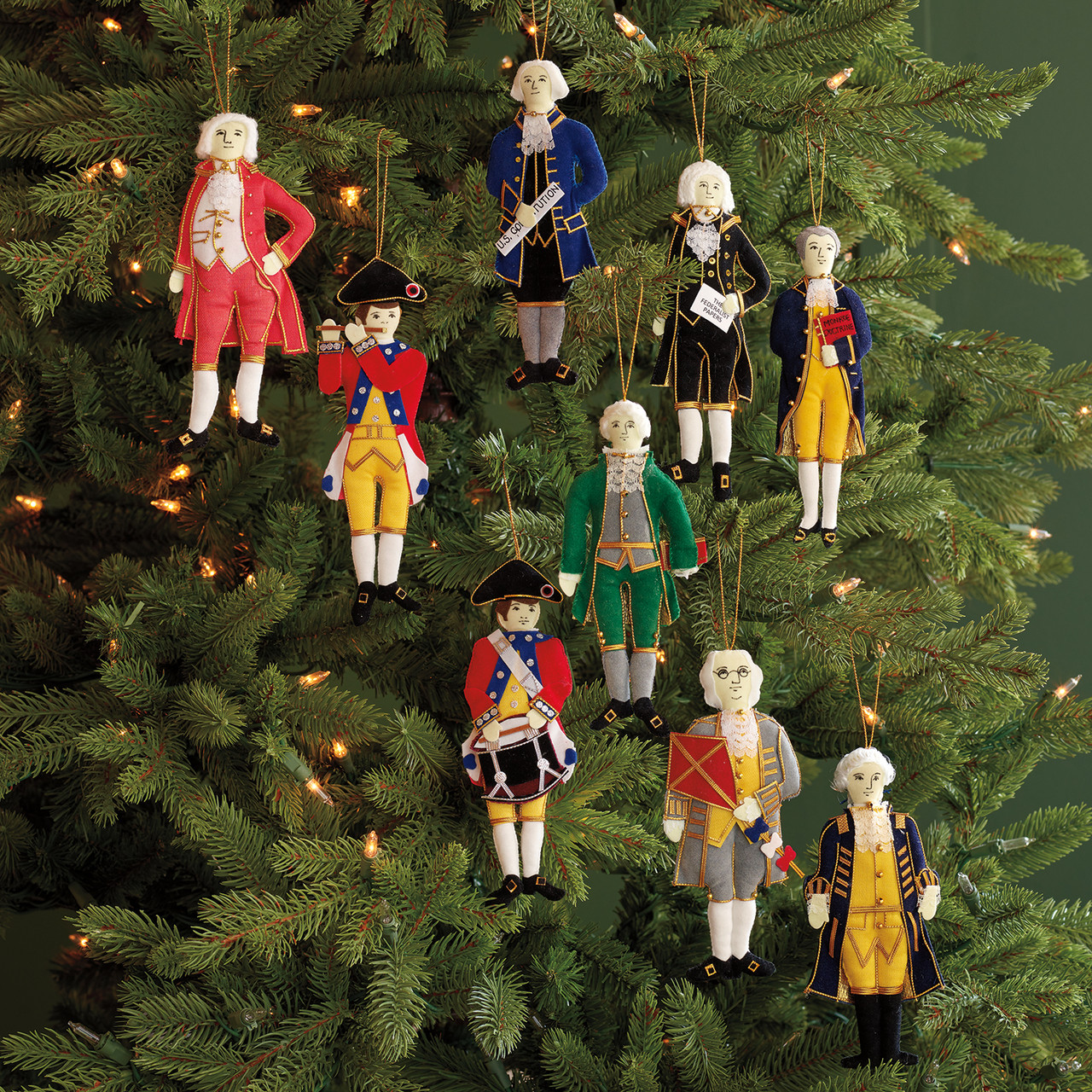 Embroidered Fabric Ornaments Set Of 9 Monticello Shop