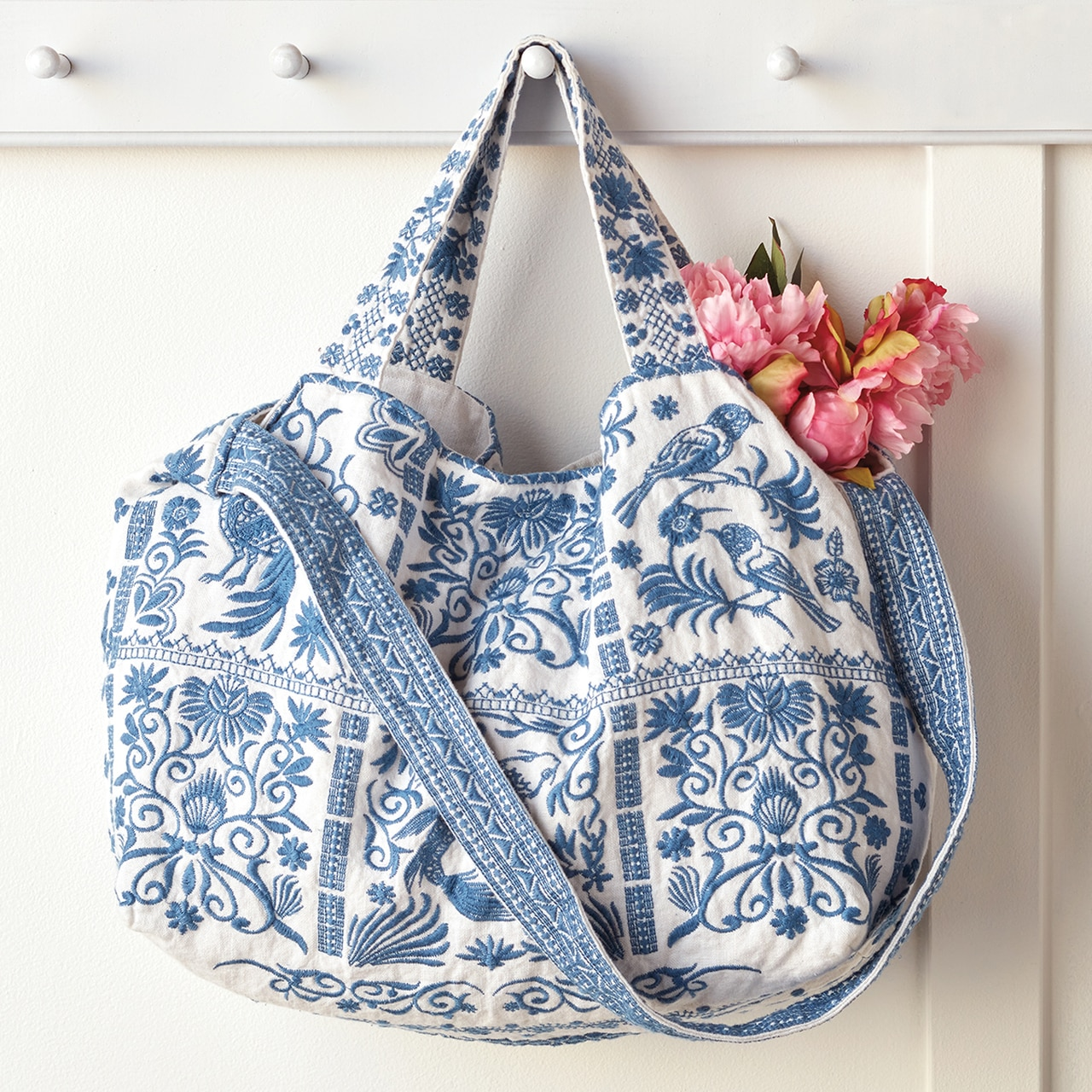 Blue and White Embroidered Tote