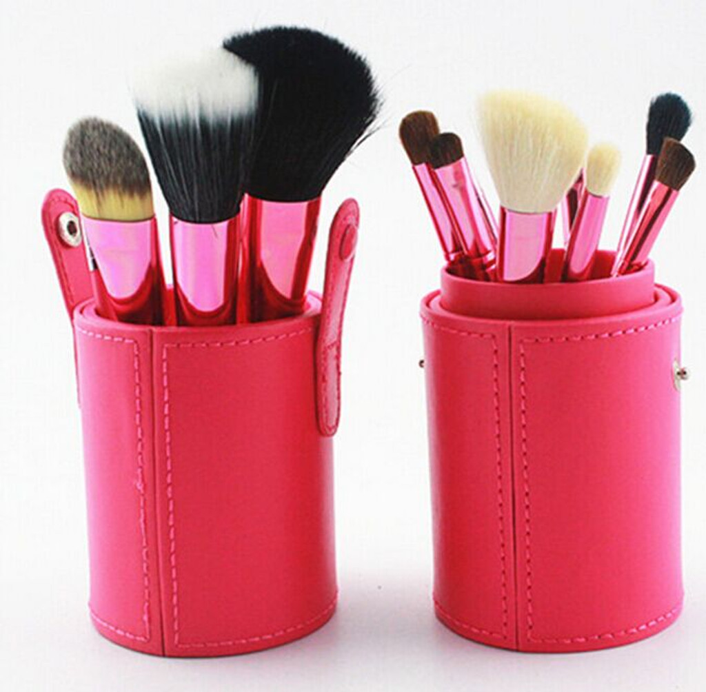 12 pc Makeup Brush Set With Red Canister