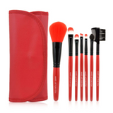 7 pc Makeup Brush Set In Red Case