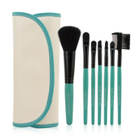 7 pc Makeup Brush Set In White Case With Green Trim