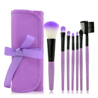 7 pc Makeup Brush Set In Purple Case
