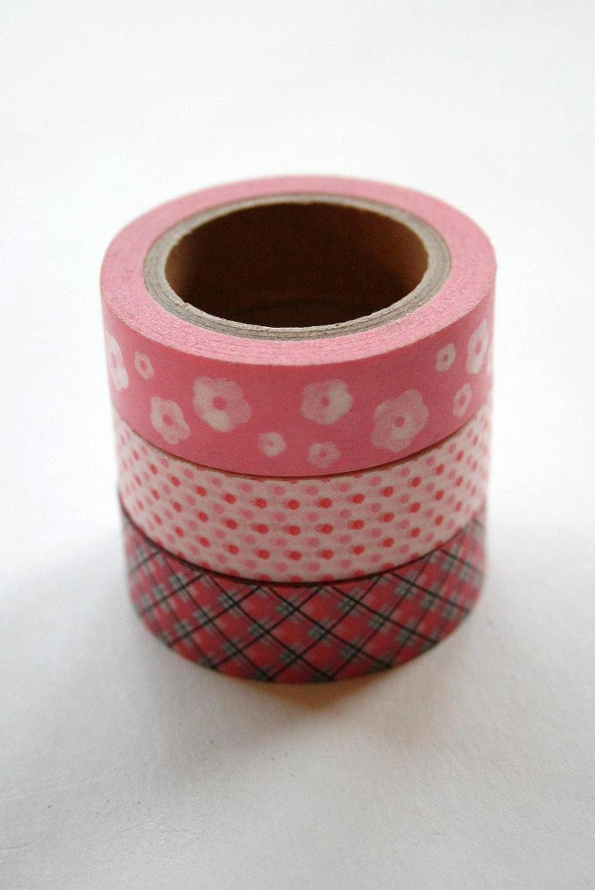 Neon Washi Tape Set Green Orange Pink Solid Colour 3 x 10m