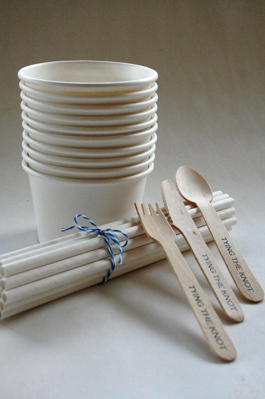 White Party Pack Ice Cream Cups Paper Straws Stamped Spoons