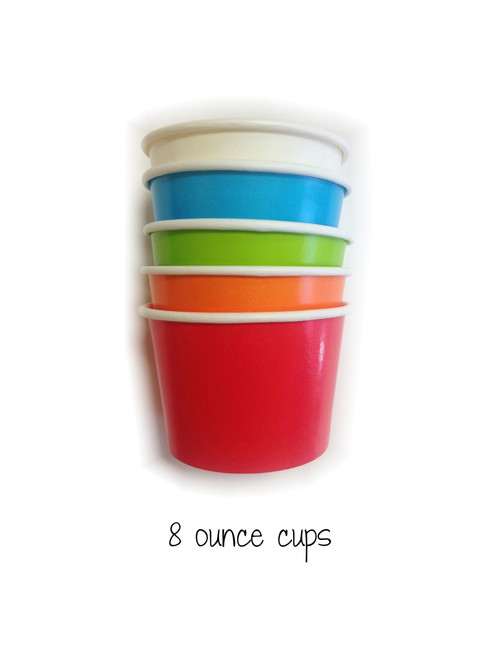 Mixed Color Party Pack Twelve Ounce Ice Cream Cups Wooden Spoon Set