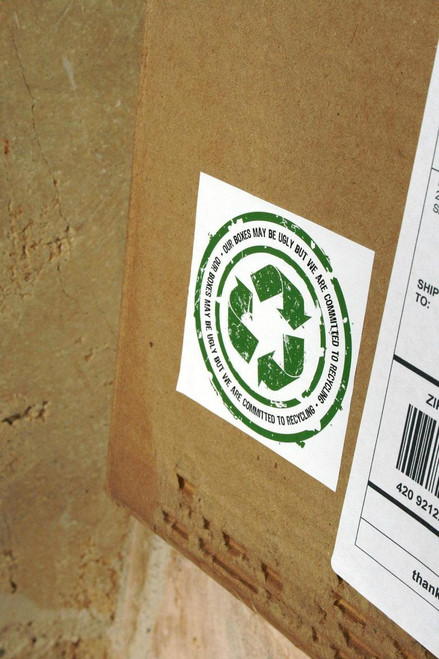 Let Your Customer Know You Recycle Glossy UV QTY 500 Ugly Boxes Sticker 3 x 3 Stickers