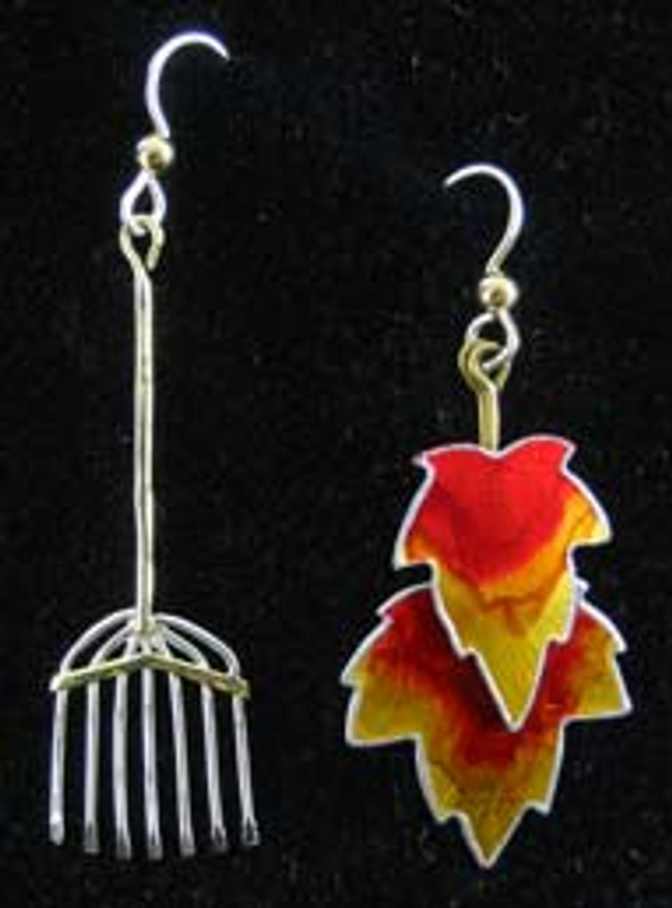 Rake and Leaves Earrings