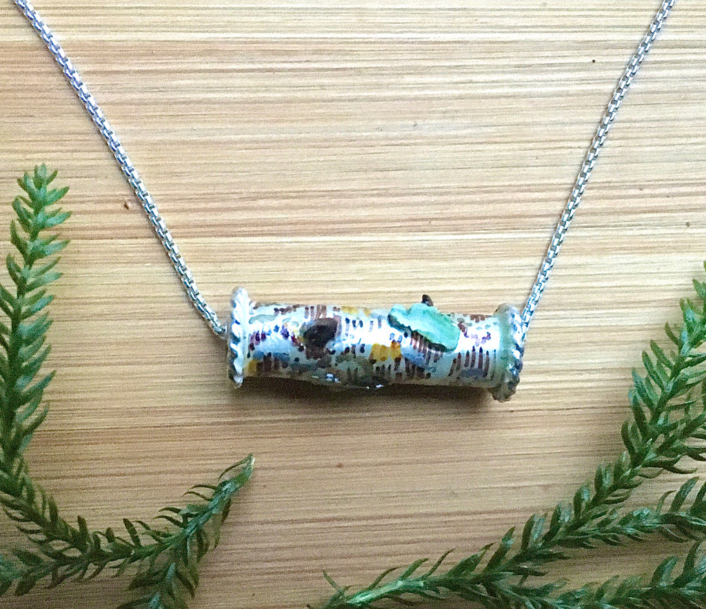 """Wear the Woods! Necklace is the next best thing to being thx chain is 18"""". It is the perfect gift for yourself or a friend.ere. The birch tree trunk features real lichen and chaga mushrooms, as well as the sense of peace that forests project. Color and real flora are carefully applied and it is finished with a resin clear coat for depth and durability. The birch slide measures 1"""" wide and the Sterling rounded bo"""