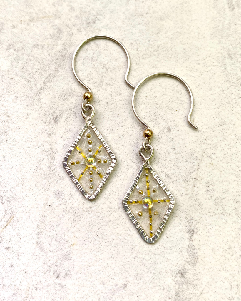 """The title of these earrings says it all. Diamonds are fun to wear, whether they are the real deal or the next-best-thing! These diamond earrings fall into the latter category, just in case it's not too obvious. They are made out of Sterling silver with translucent resin that carries blingish embellishments. They measure 1/2"""" wide by almost 1"""" tall, not including the Sterling round earring wire. They are light and fun to wear and make great gifts!"""