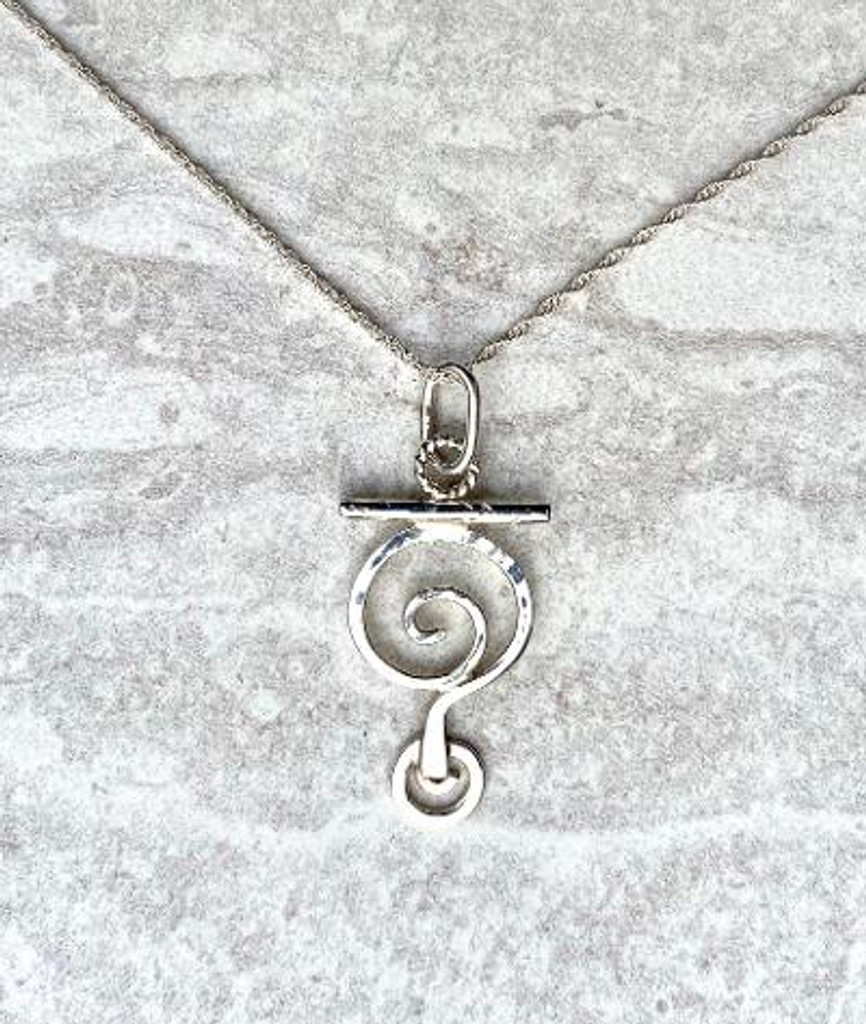 "The name says it all...Question Everything or Always Wonder. The Necklace is hand fabricated in Sterling. The question mark is 5/8"" wide by 1 1/8"" tall. It is suspended from an 18"" Sterling chain."