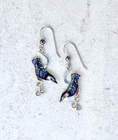 """These Nuthatch Earrings are perched just the way that the real ones are....head down. They are handcrafted from Sterling silver and jeweler's brass, and meticulously handpainted. They measure 5/8"""" x 1 1/4""""."""