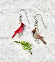 """Because wearing these cardinal earrings is as special as seeing one...These Small Cardinal Earrings feature male and female cardinals. They are handcrafted from jeweler's brass and Sterling silver, and then carefully handpainted. They measure 3/4"""" x 7/8"""" and are as light as a feather."""
