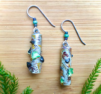 "Wear the Woods! Earrings are the next best thing to being there. The birch tree trunks feature real lichen and chaga mushrooms, as well as the sense of peace that forests project. Color and real flora is carefully applied and they are finished with three protective clear coats, including resin for depth and durability. They 1.25"" long, not including the earring wires. Earring wires are Sterling silver. They are the perfect give for a friend or for yourself."
