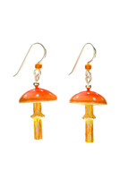 """Mushrooms symbolize the beauty and magic of nature, and the amanita muscaria is the quintessential mushroom. It is the mushroom that was featured in Alice in Wonderland, and was the subject of European folklore, and often represented in Christmas tree ornaments. These earrings pay homage to these mushrooms, and to the fields and forests where they are found. They are handcrafted from jeweler's brass and Sterling, and carefully hand-painted, and sealed with 4 protective clear coats, the final one being a jewelry grade resin for the ultimate durability. The stems dance lightly beneath the caps, and bits of the decorative elements will glow in the dark after being exposed to bright light for several minutes. The measure a scant 3/4""""wide and 1"""" long without the earring wires. These earrings are light and fun to wear, and make great gifts, too."""