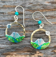 """John Muir's quote, """"The Mountains are calling and I must go"""", resonates with all of us, and these mountain earrings will too. They are a tribute to the beauty and sanctity of our earth's mountains. They measure 3/4"""" in diameter and are light to wear."""