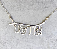 """he right to vote in a democracy one that needs to be exercised in order for the system to work. This necklace pays homage to this right, and serves as both a statement and an important reminder. It is carefully handcrafted out of Sterling silver. The focal point measures 1 3/4"""" wide x 5/8"""" tall, and its total length is 19"""". It is a timely and elegant piece to give or to wear."""