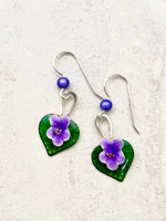 """Everyone loves violets and these earrings are a reminder of this. They are carefully handcrafted out of Sterling and jeweler's brass and meticulously hand-colored. They measure 3/4"""" tall by 1/2"""" wide, not including the Sterling earring wires. They are light to wear, and would be the perfect gift for a friend or you!"""