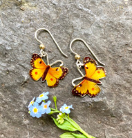"Orange Sulphur Butterflies are found across North America. They are a lovely summer butterfly. These earrings are a tribute to them. They are hand crafted out of lacquered jeweler's brass and Sterling and carefully hand-colored. They measure 3/4"" wide by 3/4"" tall, not including the Sterling earring wires, and float lightly as they are worn. They are the perfect gift for you or a friend!"