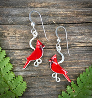 Small Red Cardinal Earrings