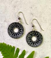 Small Black Spore Print Earrings