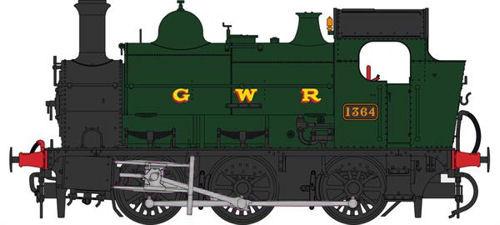 Heljan OO Gauge 1302 GWR 0-6-0ST 1364 GWR Green (G W R Lettering)