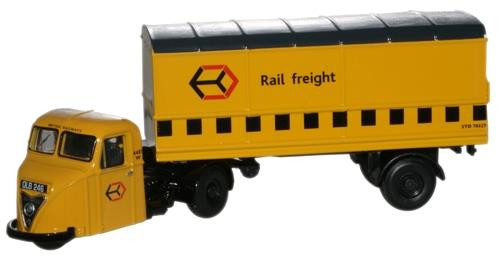 Oxford Diecast OO Scammell Scarab Van Trailer Railfreight Yellow 1/76