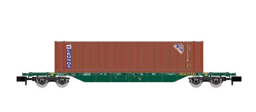 """Arnold N Gauge Wagons CEMAT, 4-axle container wagon Sgnss, loaded with 45' container """"CRONOS"""", period V-VI"""
