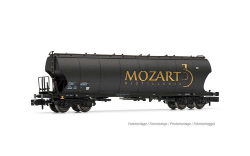 "Arnold N Gauge Wagons 4-axle round-sided hoper wagon ""Mozart Distillerie"", black with gold, period VI"