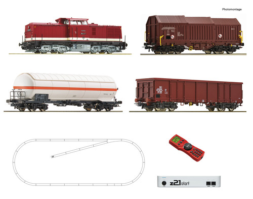 Roco HO Train Sets DR BR114 Diesel Freight Starter Set (DCC-Fitted)