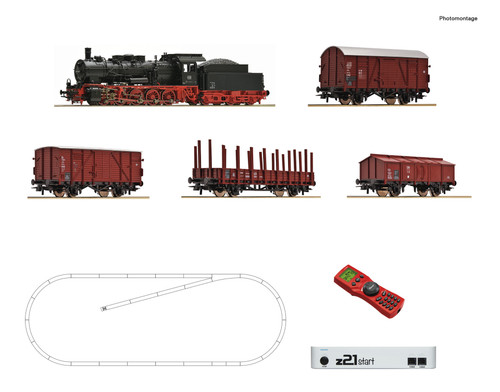 Roco HO Train Sets DB BR057 Steam Freight Starter Set (DCC-Fitted)