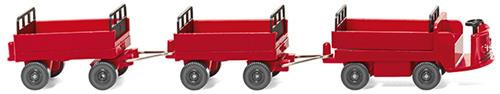 Wiking HO Vehicles Still Electric Cart With Trailers Red WK116003