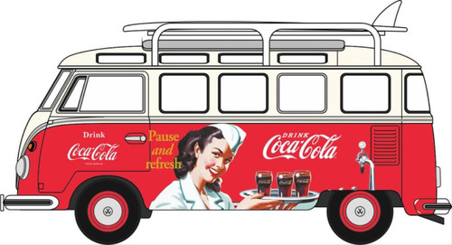 Oxford O Gauge Vehicles VW T1 Bus And Surfboards Coca Cola OD76VWS008CC