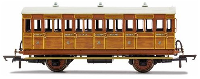 Hornby OO Gauge GNR, 4 Wheel Coach, 3rd Class, Fitted Lights, 1636 - Era 2 R40104