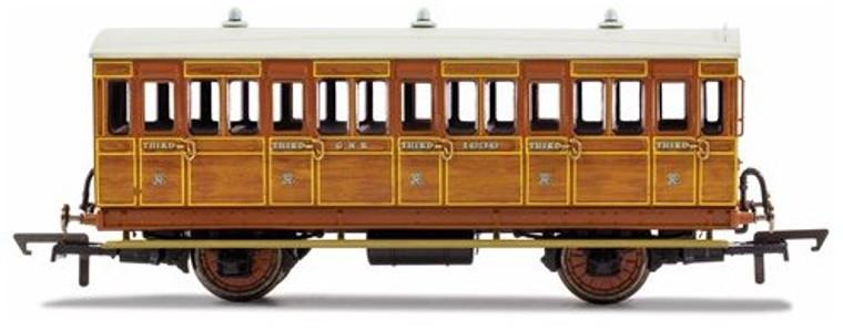 Hornby OO Gauge GNR, 4 Wheel Coach, Brake 3rd Class, Fitted Lights, 399 - Era 2 R40106