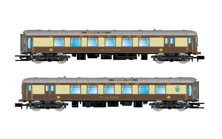 Arnold N Gauge  Pullman, set of 2 coaches 5-BEL 'Brighton Belle', coach and railcar, period VI  1/160