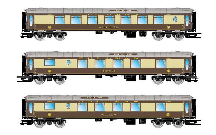 "Arnold N Gauge Pullman, 3-unit set 5-BEL 'Brighton Belle', coach 3ª Class, ""Mona"" and ""Gwen"", period VI HN3502"