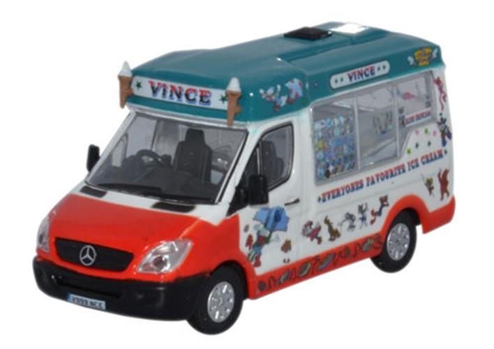 Oxford Diecast OO Whitby Mondial Mercedes Ice Cream Van Vinces 1/76