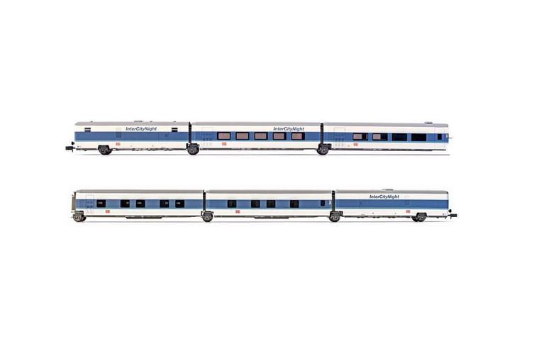 Arnold N Gauge Coach Packs 6-unit set Talgo InterCityNight in white blue livery, basic set, period V