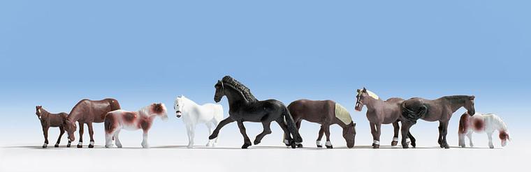Noch HO Gauge Horses (9) Figure Set N15761
