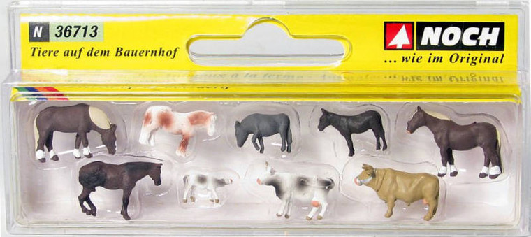 Noch N Gauge Farm Animals (9) Figure Set N36713