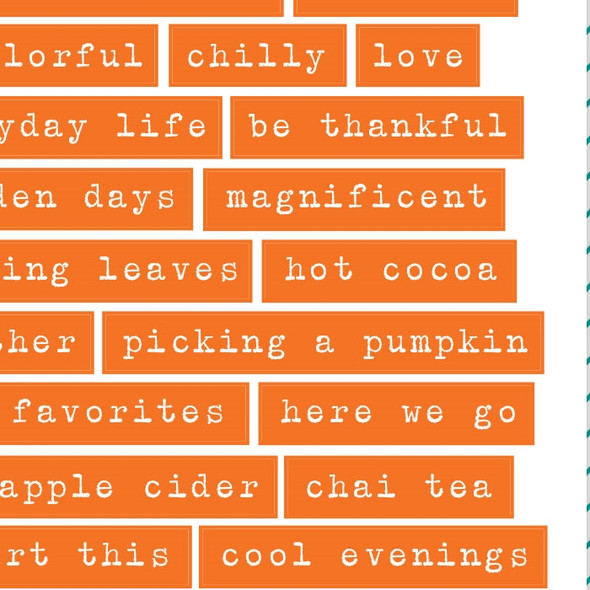 Stickers | Fall Words | Orange