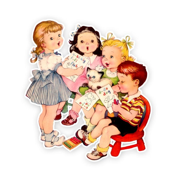 Vintage Die-Cut | School Kids