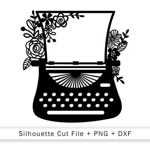 Cut File | Floral Typewriter