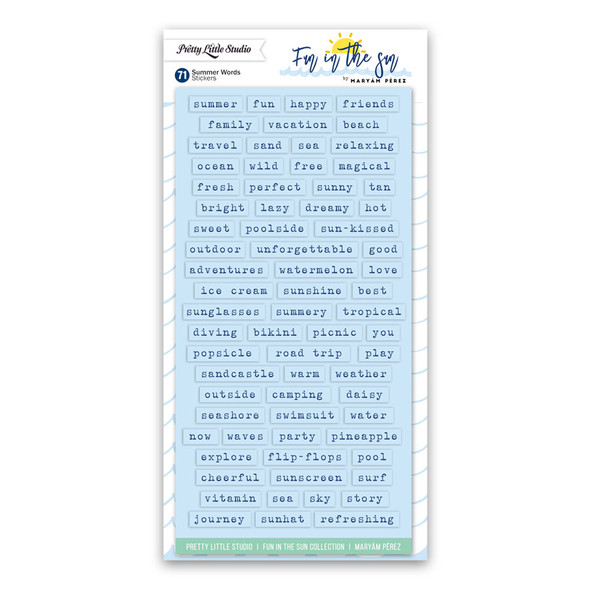 Stickers | Summer Words | Lt Blue