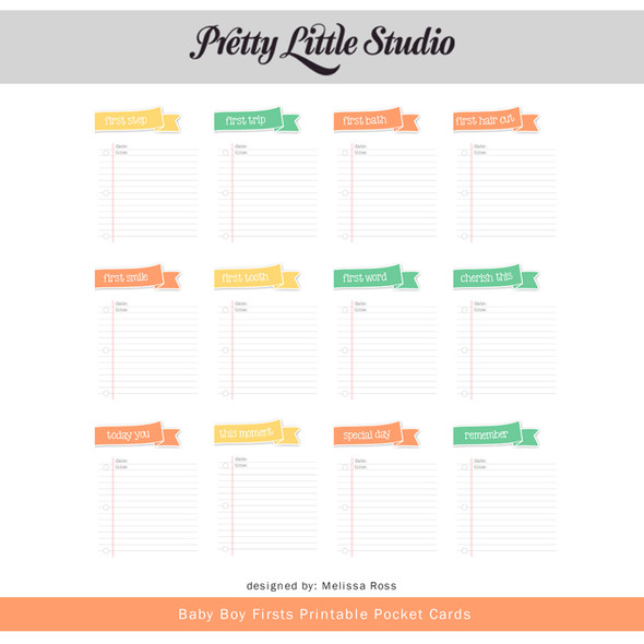 Printable | Baby Boy First Cards